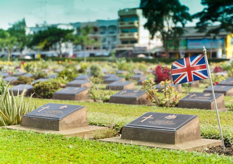 Ernstige Steen bij Wereldoorlog IIbegraafplaats royalty-vrije stock fotografie