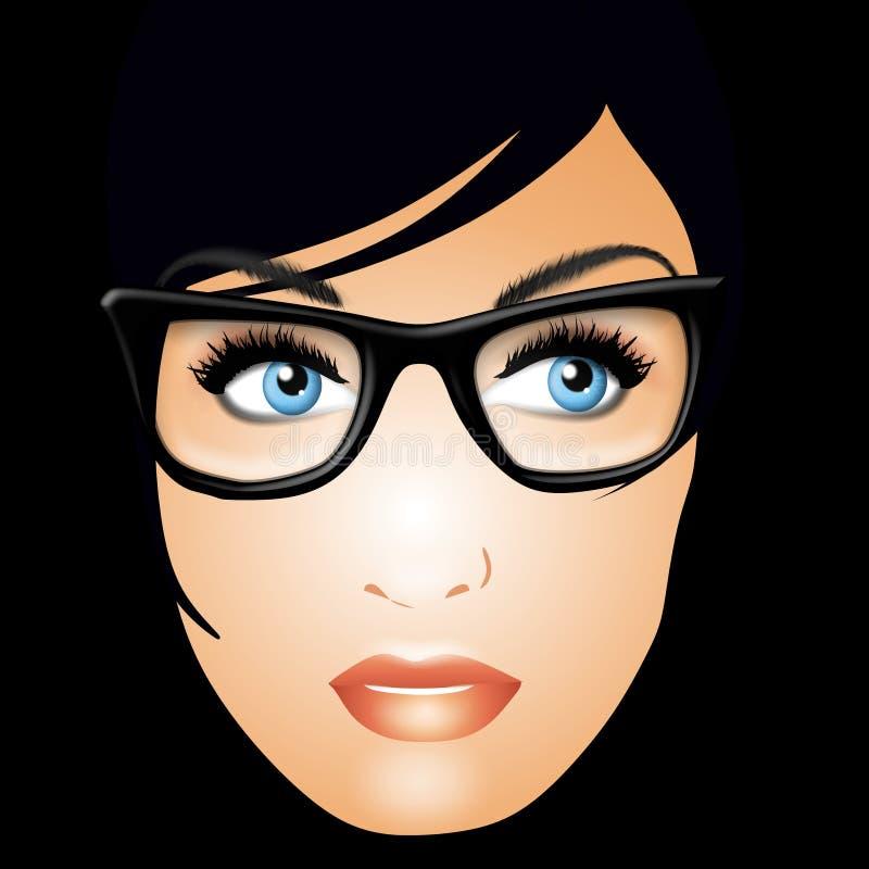 Ernstige Vrouw die Glazen draagt royalty-vrije illustratie