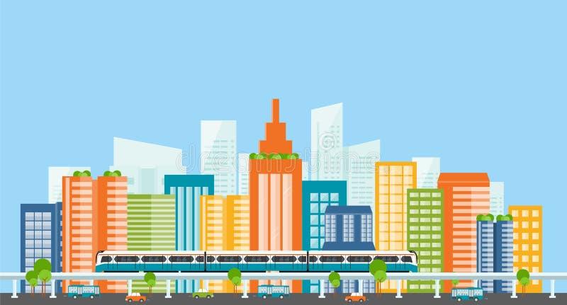ernstlich downtown Elektrischer Zug transport Farbvolles Gebäude stock abbildung