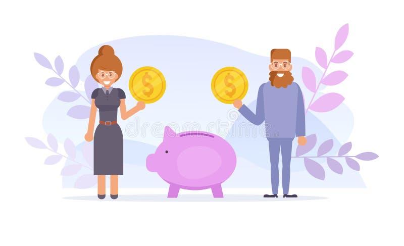 ernstlich Pension Moneybox-Vektor karikatur Lokalisierte Kunst auf weißem Hintergrund flach stock abbildung