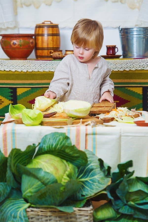 Ernte des kleinen Jungen und des Herbstkohls stockfotografie