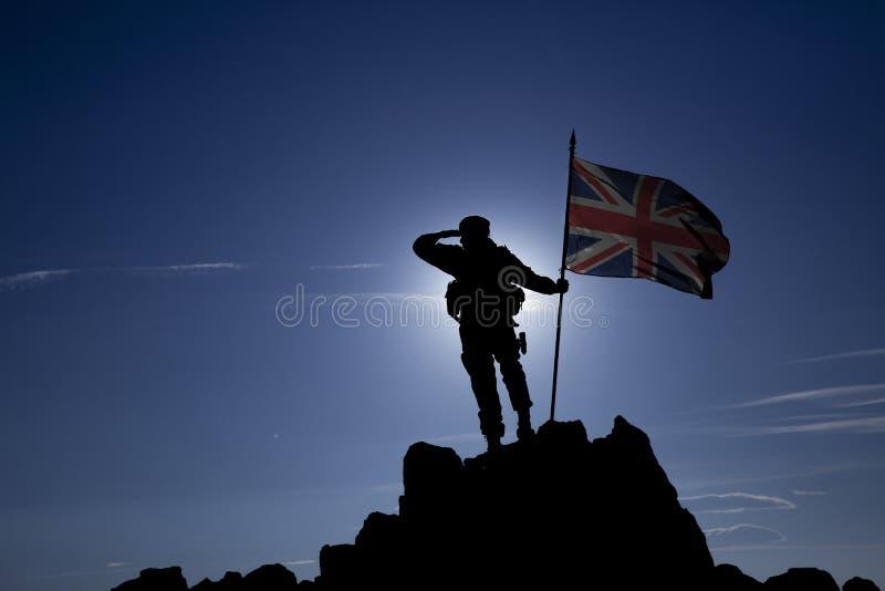 Eroberer mit einer Flagge stockfoto