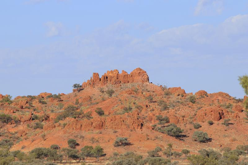 Eroded hills at Lillleyvale Hills. Mesa in the Lilleyvale Hills between Winton and Boulia in Western Queensland. The region was once under the Eromanga Sea which royalty free stock photo
