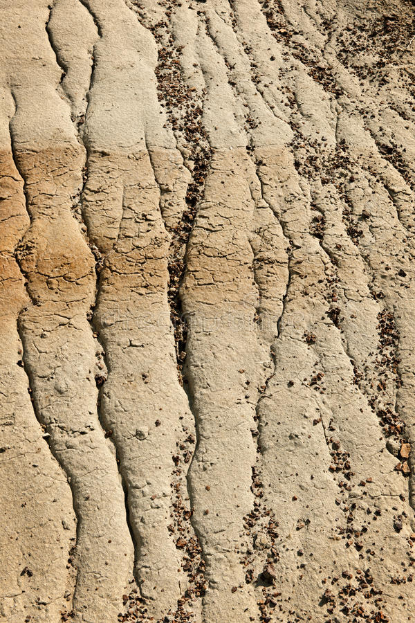 Eroded soil. Close up of eroded soil patterns in badlands in Alberta, Canada stock photos