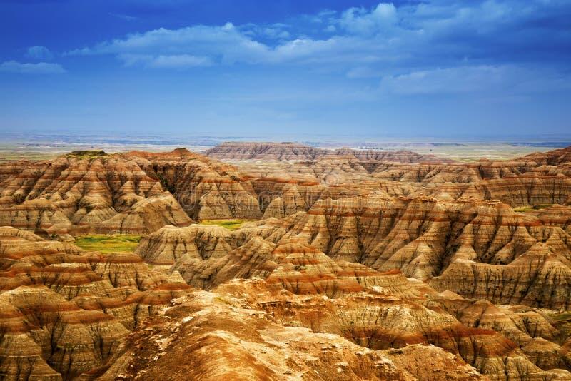 Erodera texturer av Badlandsnationalparken South Dakota arkivbilder