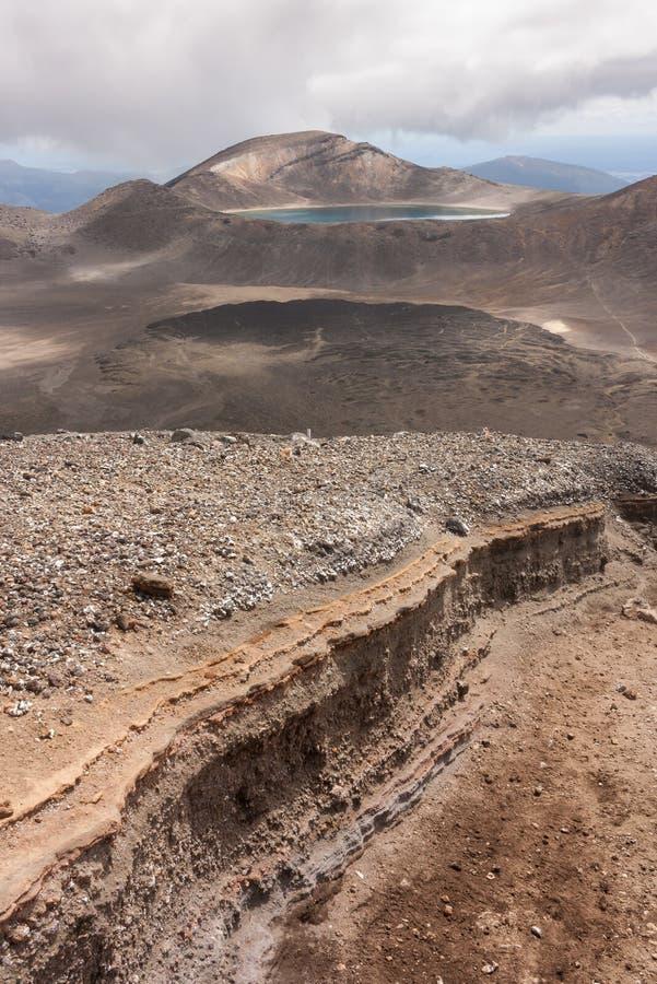 Eroderad lutning i den Tongariro nationalparken arkivfoton