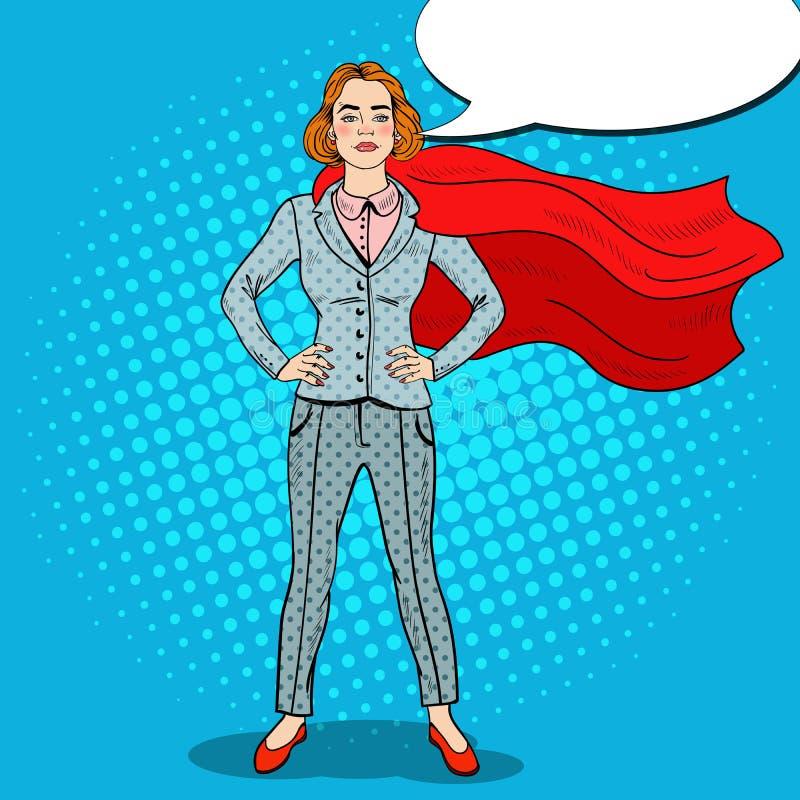 Eroe di Art Confident Business Woman Super di schiocco illustrazione di stock