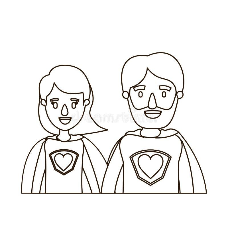Eroe eccellente dei mezzi del corpo di caricatura di contorno di schizzo genitori delle coppie con il simbolo del cuore in unifor illustrazione vettoriale