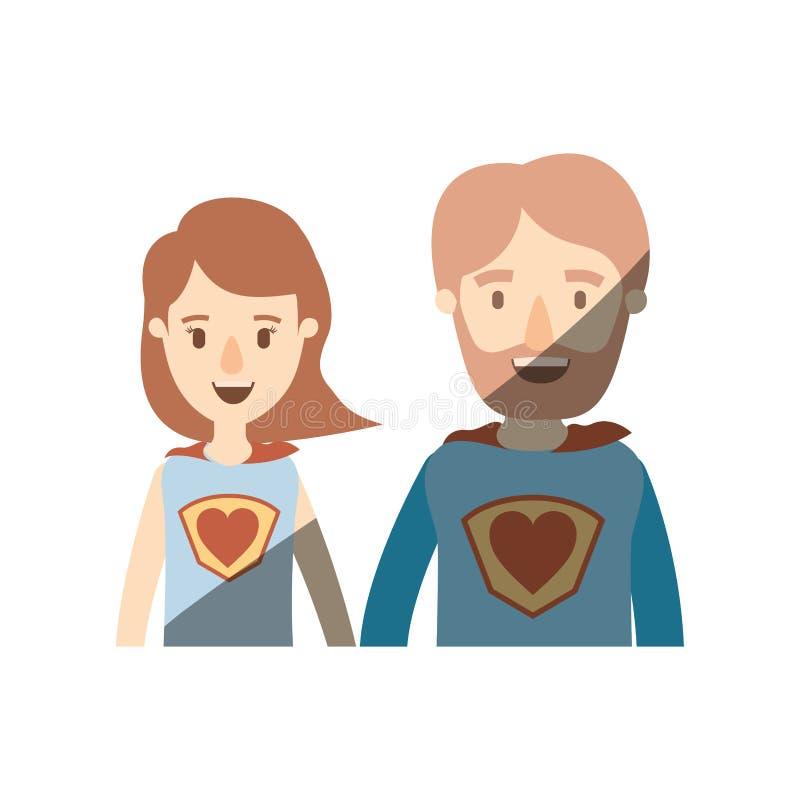 Eroe eccellente dei mezzi del corpo di caricatura di ombreggiatura di colore leggero genitori delle coppie con il simbolo del cuo illustrazione vettoriale