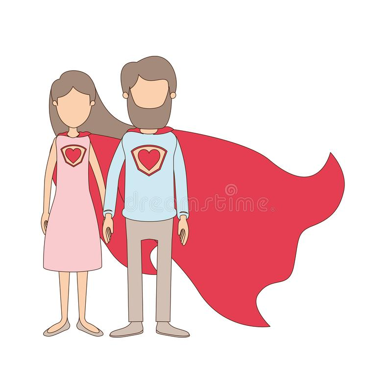 Eroe eccellente del corpo di caricatura di colore leggero dei genitori completi anonimi delle coppie con l'uniforme ed il cappucc illustrazione di stock