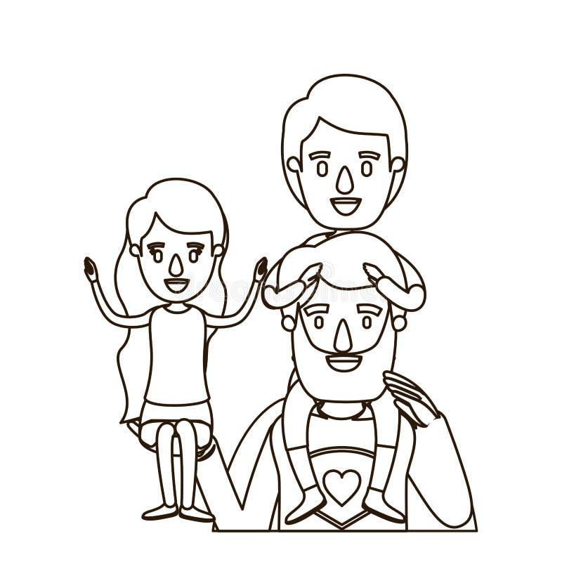 Eroe eccellente del papà del corpo di metà di contorno di schizzo con la ragazza sulla suoi mano e ragazzo sul suo indietro royalty illustrazione gratis