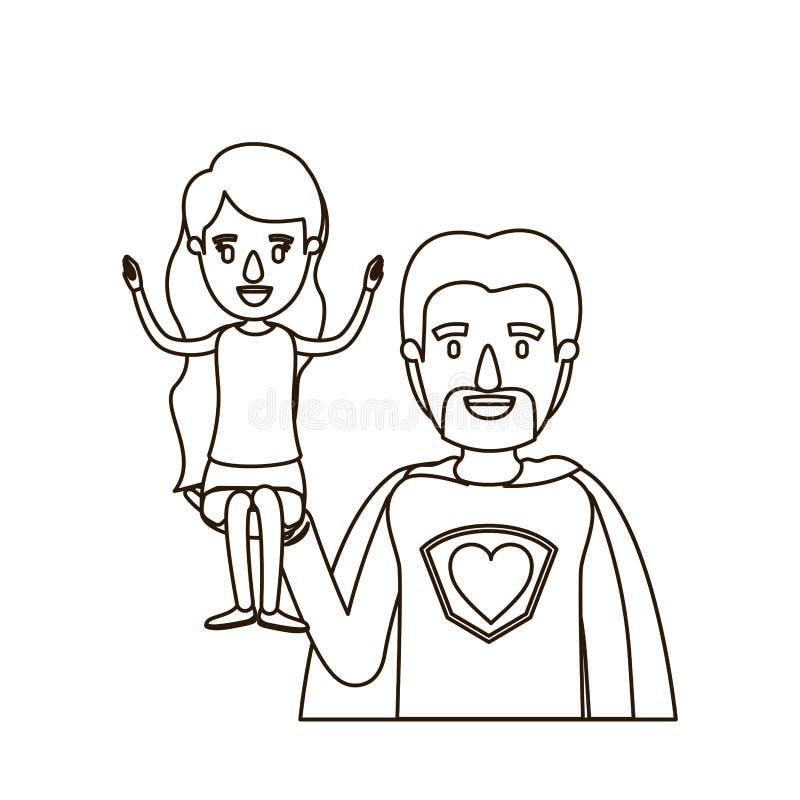 Eroe eccellente del papà del mezzo ente di caricatura di contorno di schizzo con la ragazza sulla sua mano royalty illustrazione gratis