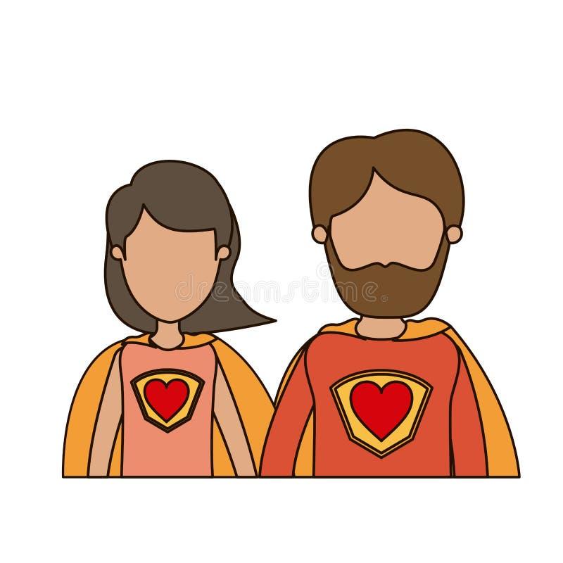 Eroe eccellente di caricatura dei mezzi del corpo genitori anonimi variopinti delle coppie con il simbolo del cuore in uniforme illustrazione di stock