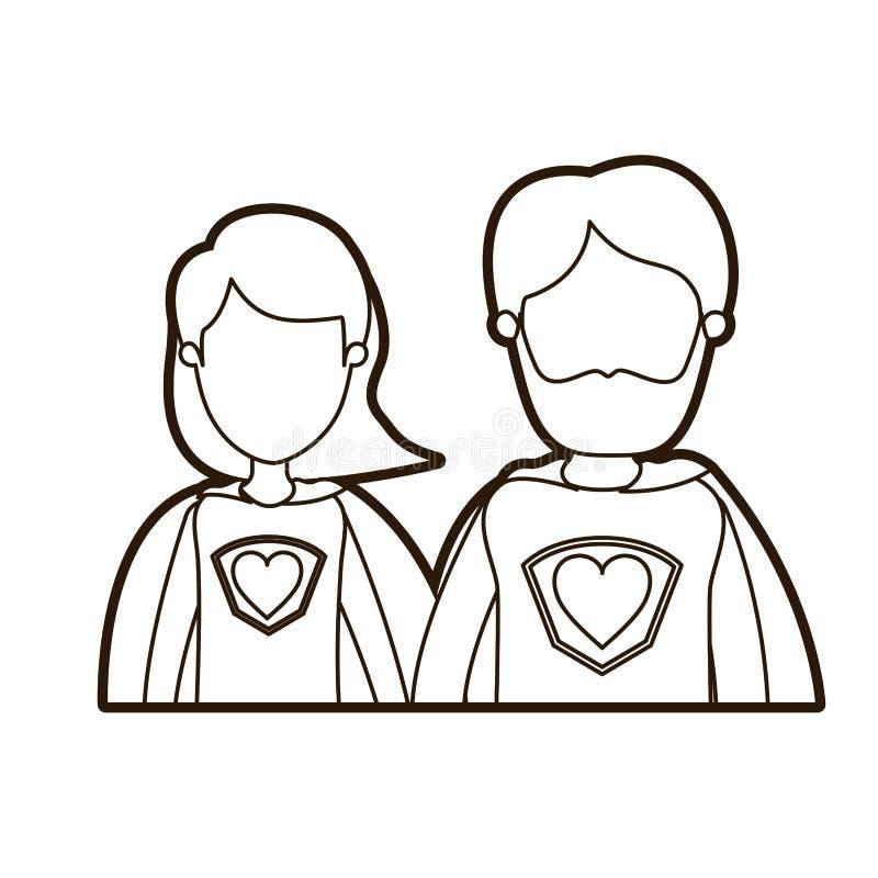 Eroe eccellente di contorno di caricatura dei mezzi del corpo genitori anonimi spessi neri delle coppie con il simbolo del cuore  royalty illustrazione gratis