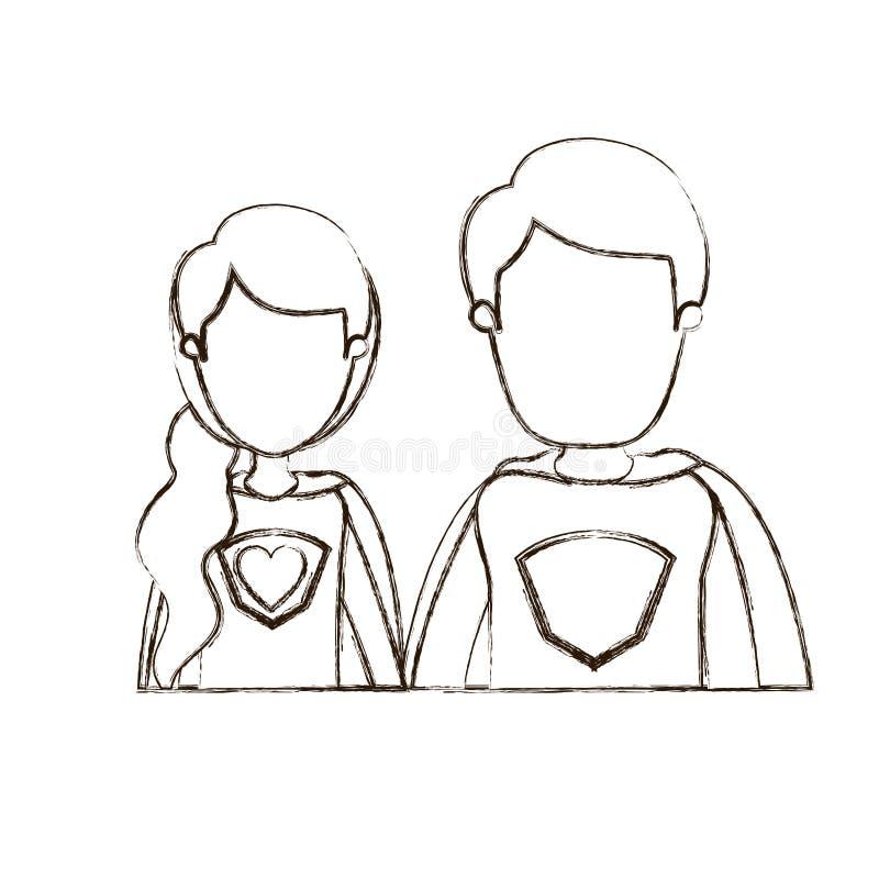 Eroe eccellente femminile e maschio coppie vaghe di contorno ente anonimo sottile di caricatura del mezzo delle giovani con il si illustrazione vettoriale