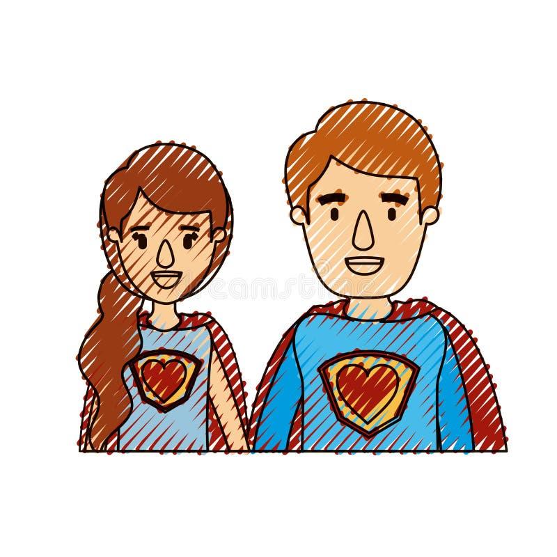 Eroe eccellente femminile e maschio delle giovani coppie del mezzo ente di caricatura della banda del pastello di colore con il s royalty illustrazione gratis
