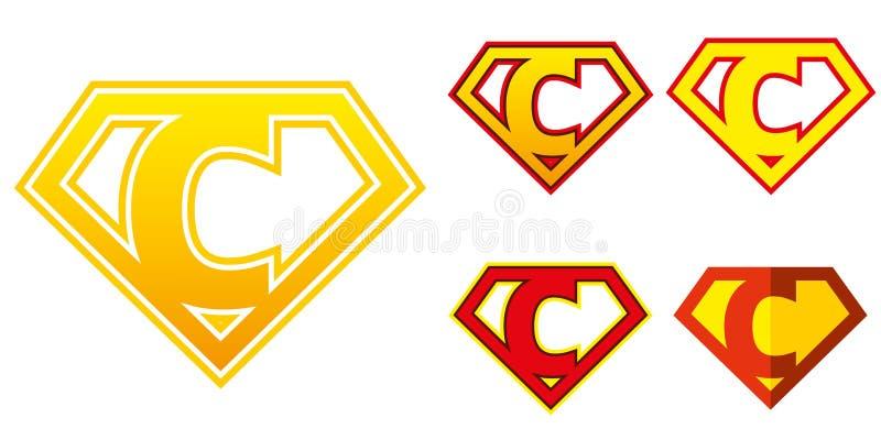 Eroe eccellente Logo Letters Superhero Alphabet royalty illustrazione gratis