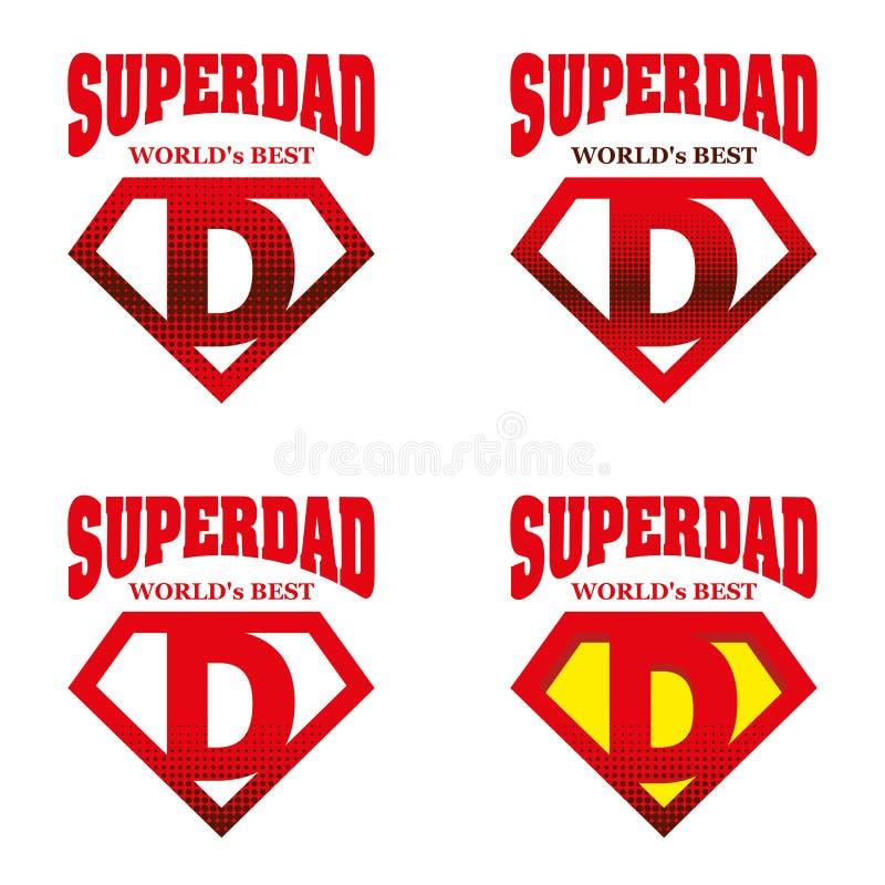 Eroe eccellente Logo Supehero Letters del papà illustrazione di stock