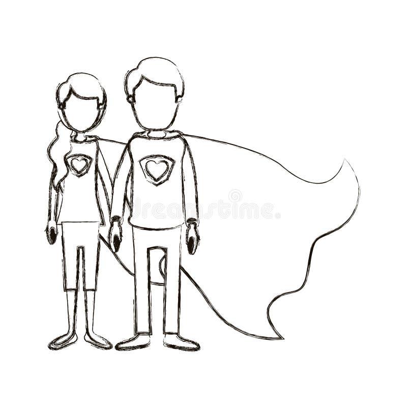 Eroe eccellente vago del corpo di caricatura della siluetta dei giovani pieni anonimi delle coppie con l'uniforme ed il cappuccio illustrazione di stock
