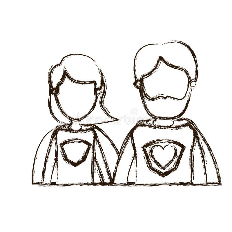 Eroe eccellente vago della siluetta di caricatura dei mezzi del corpo genitori anonimi spessi delle coppie con il simbolo del cuo royalty illustrazione gratis