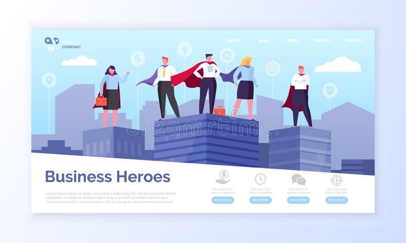 Eroi pagina Web, imprenditori di affari in cappotti illustrazione di stock
