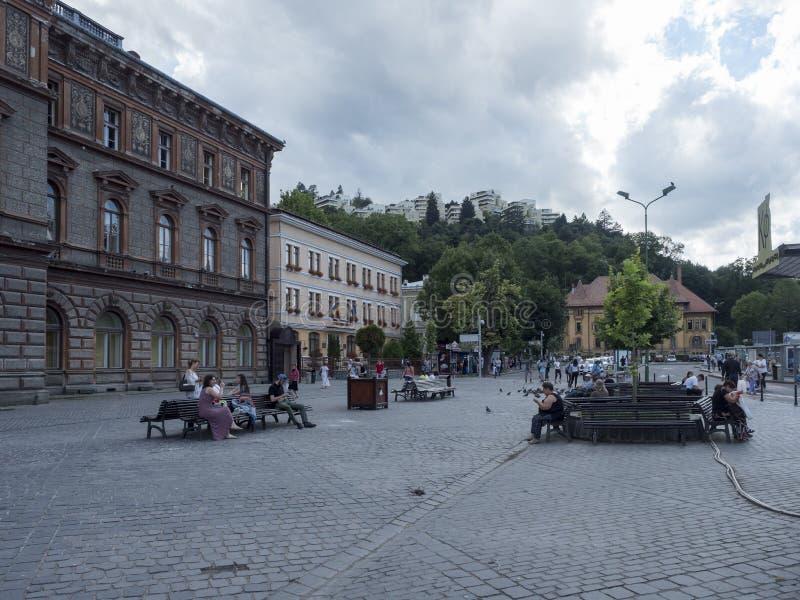 Eroilor Boulevard in Brasov, Romania royalty free stock image