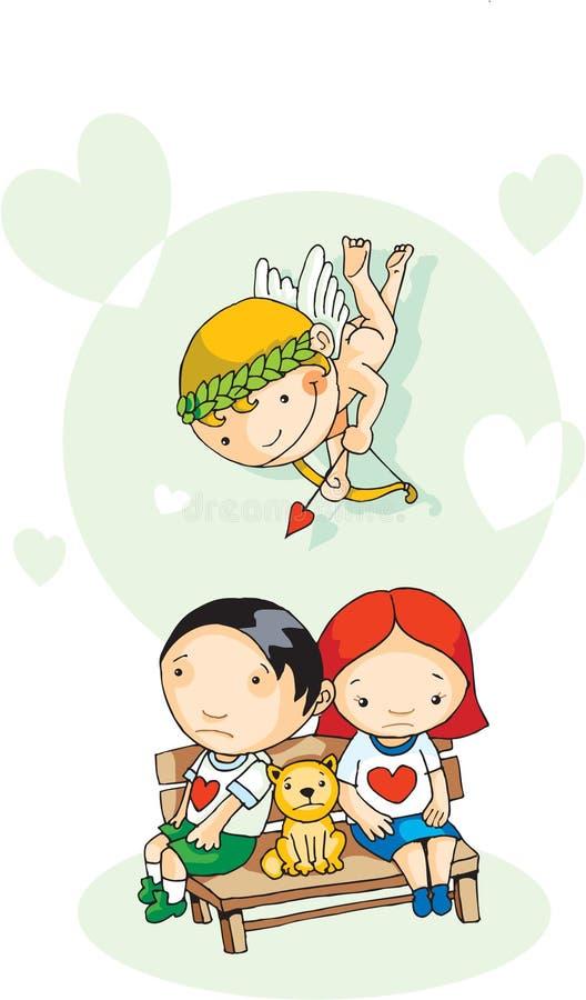 Eros hilft jungen Paaren stock abbildung