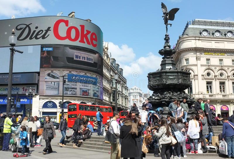 Eros Statue, Piccadilly Circus, London. Statue of Eros and fountain in London's famous Piccadilly Circus. Aluminium statue of Eros depicts the greek mythological royalty free stock photos