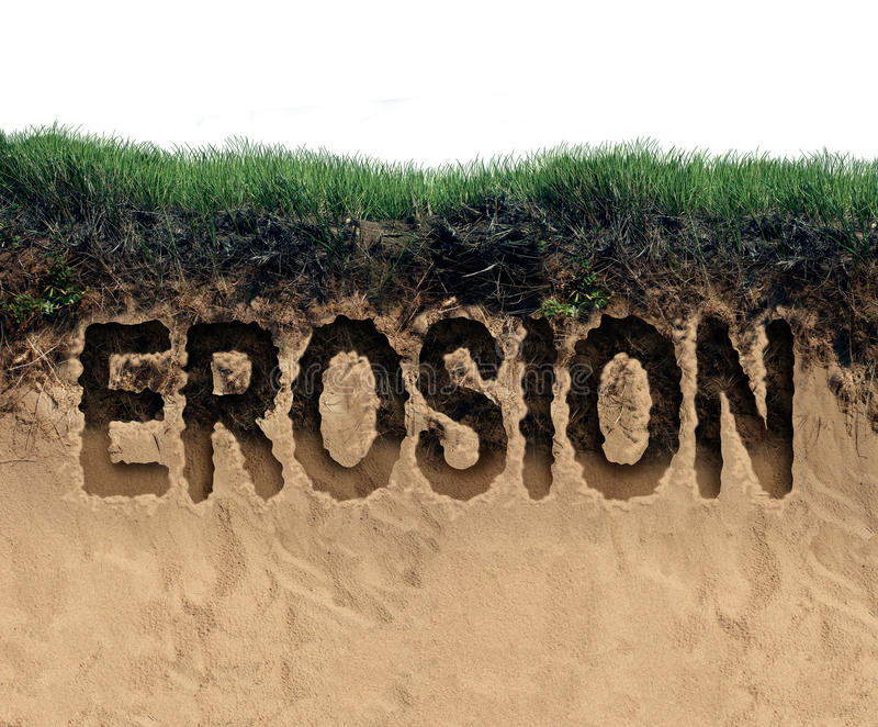 Erosion. Concept as a coastal cliff of top soil and sand eroding away as an environmental damage symbol for land loss due to the forces of nature or global stock illustration