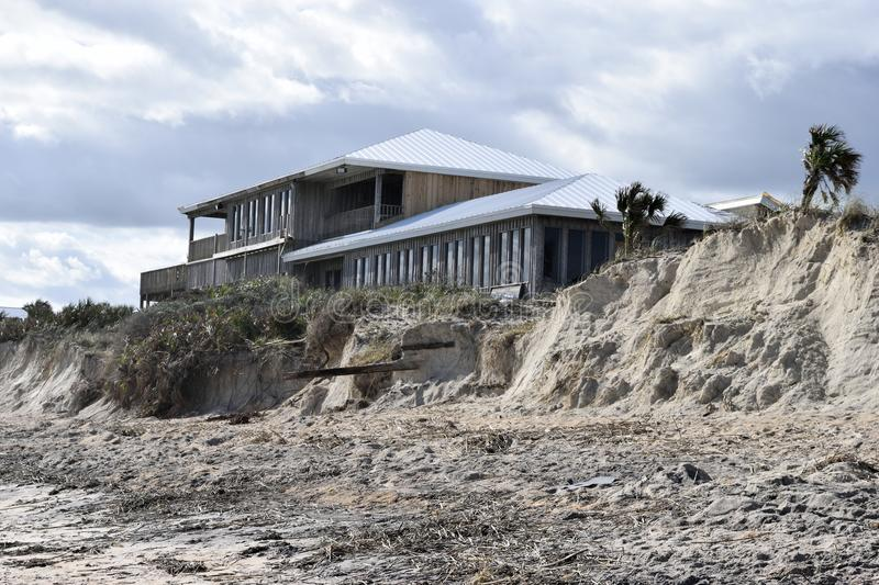 Erosion and damage at Vilano Beach, Florida. Effect of hurricane of October 7th 2016 at Vilano Beach, Florida, USA, showing rock and debris removed by massive royalty free stock photo