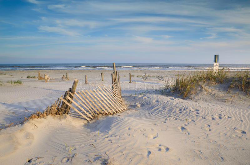 Erosion Fencing on Sandy Folly Beach South Carolina royalty free stock images
