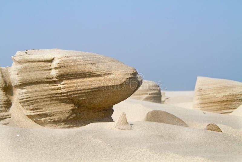 Erosione di vento nella sabbia di una spiaggia fotografia stock libera da diritti