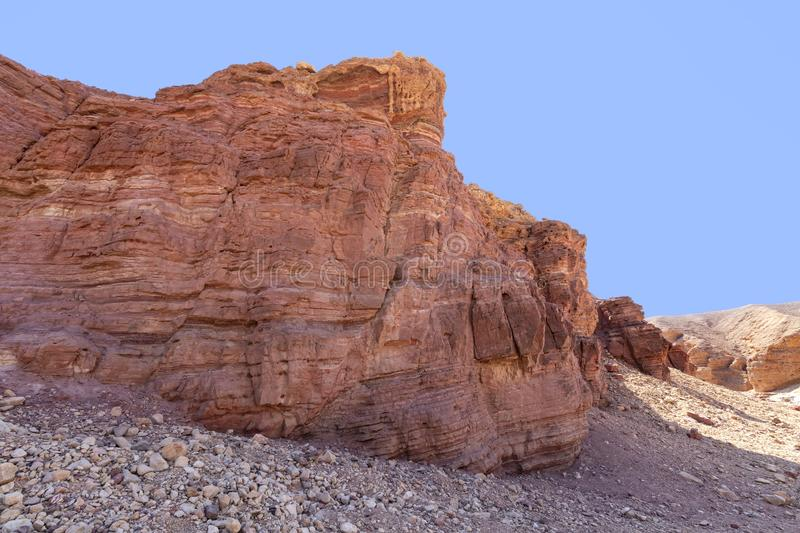 Erosive colored hills of the Red Canyon in the Eilat Mountains stock photo