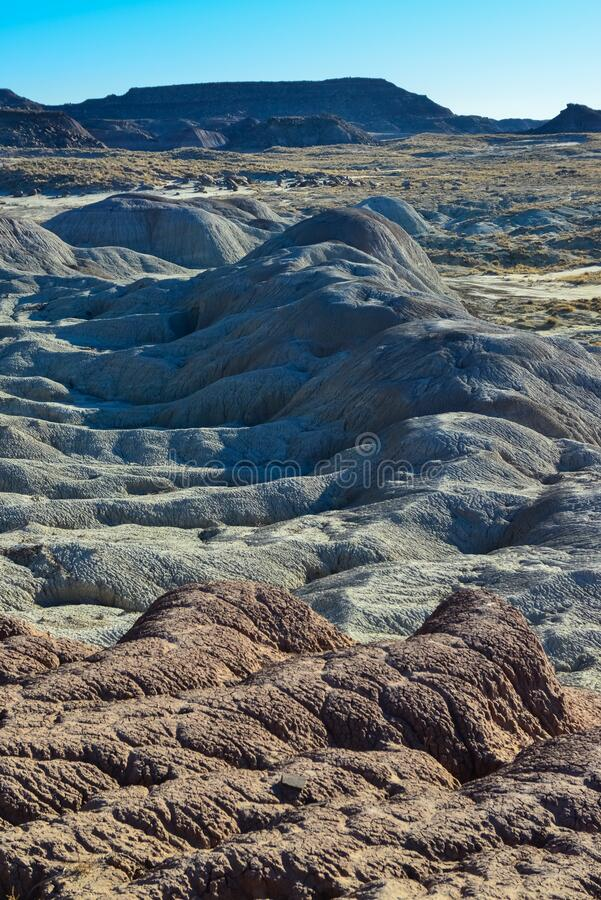 Erosive multi-colored clay in Petrified Forest National Park, Arizona.  stock photography