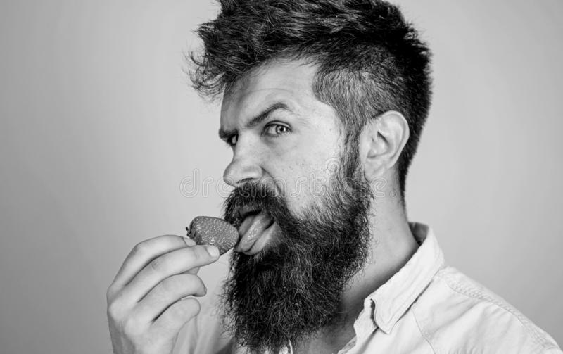 Erotic concept. That is how tastes summer. Man licking sweet berry. Man handsome sexy hipster with long beard licking. Strawberry tongue. Hipster enjoy juicy royalty free stock photo