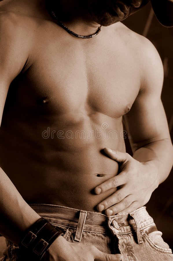 Download Erotic male stock image. Image of sepia, abdomen, jeans - 464977