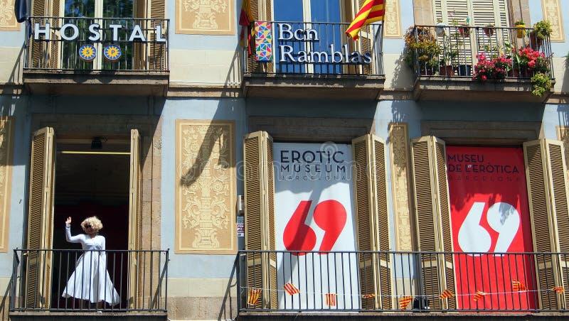 The Erotic Museum of Barcelona, Spain. The Erotic Museum of Barcelona, an educational and recreational centre focusing on eroticism, La Rambla, or Ramblas stock photo