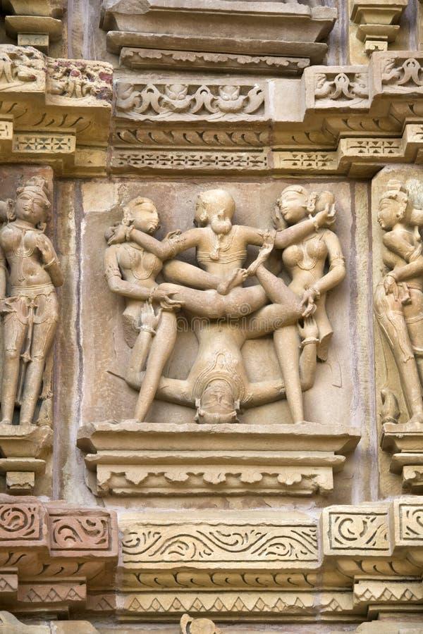 Erotic Sculpture At Khajuraho In India Stock Photos