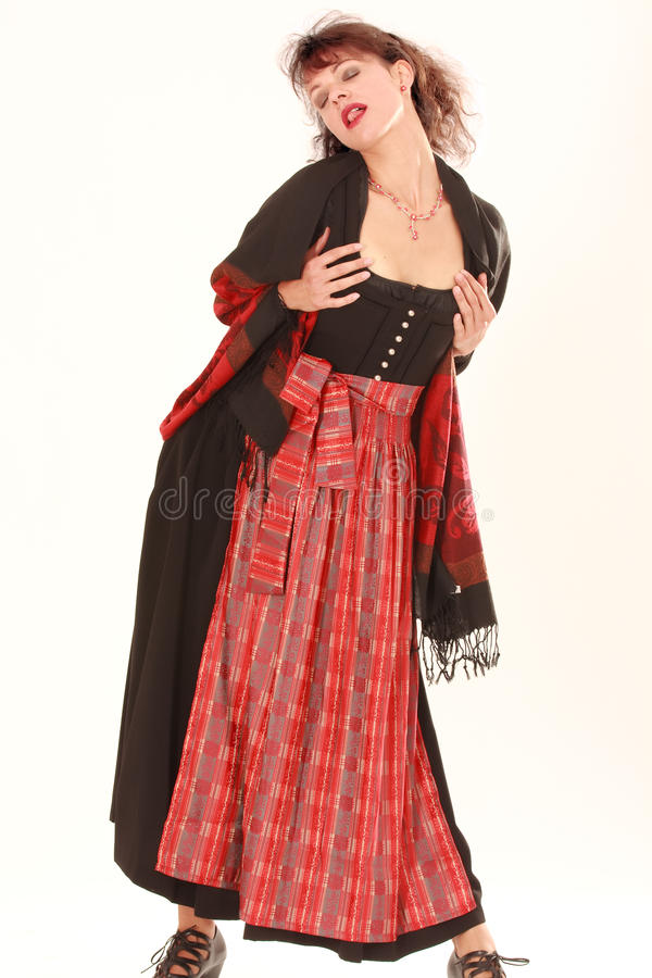 Eroticism in Bavarian costume royalty free stock photography