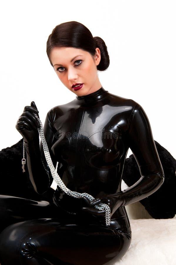 Erotische Latexdame Im Schwarzen Catsuit Stockbild - Bild