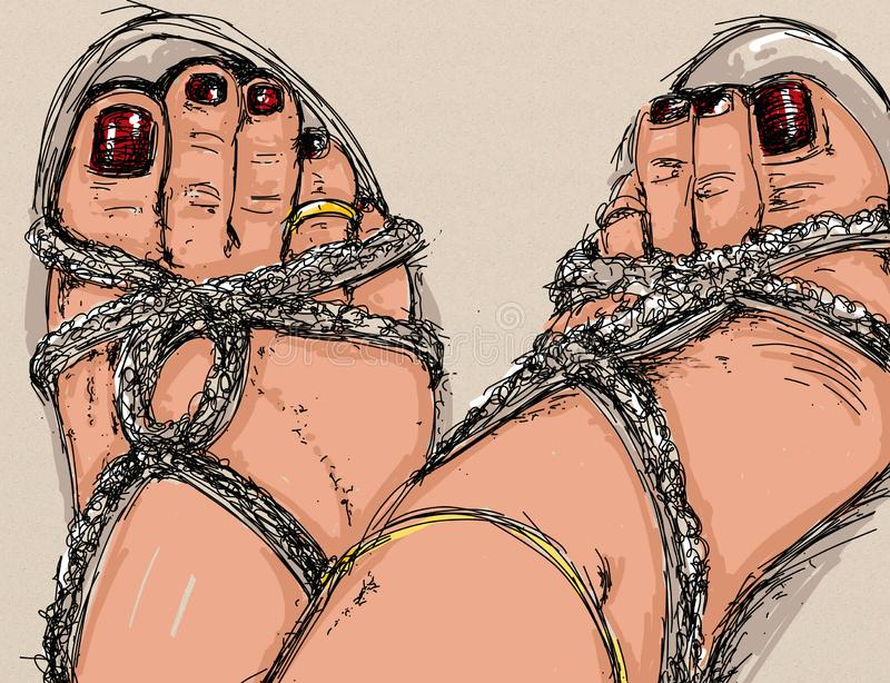 Erotyczna kobiety, przerafinowywającej i zmysłowej linia Projektująca dla erotyka, jest usytuowanym, tak jak Chiat i sklep, intym ilustracja wektor