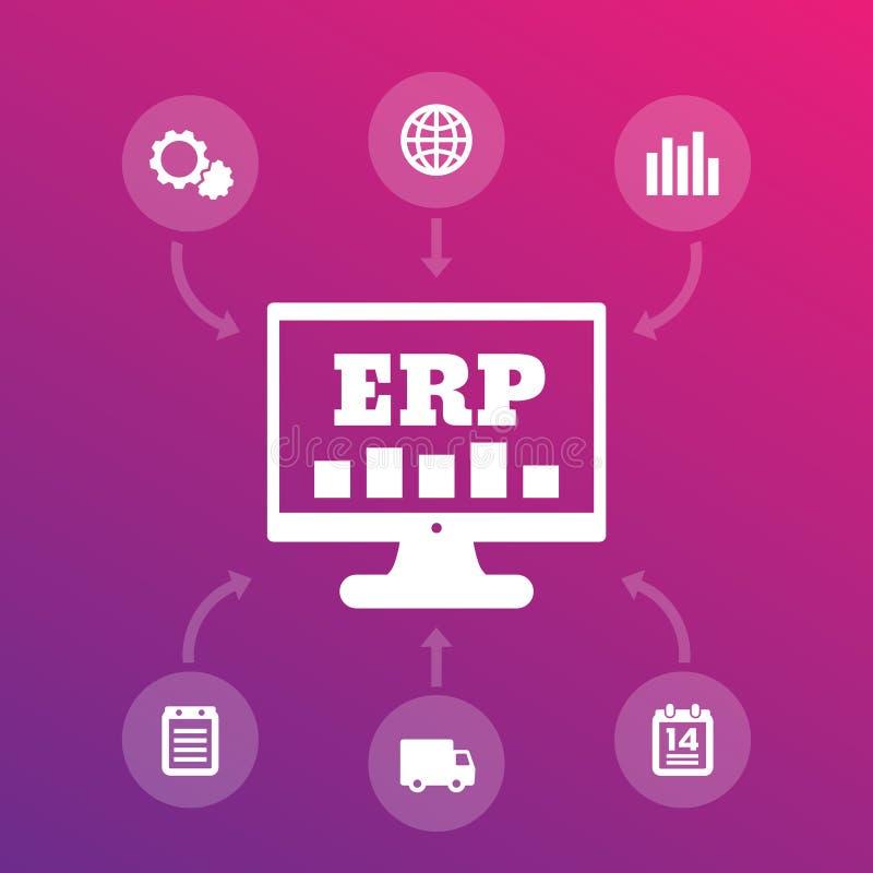 ERP系统象,企业资源计划 向量例证