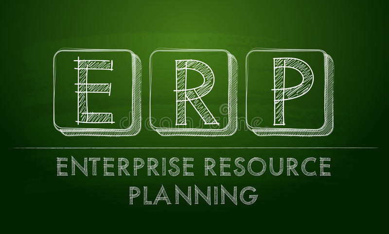 Erp,企业在黑板的资源计划 皇族释放例证