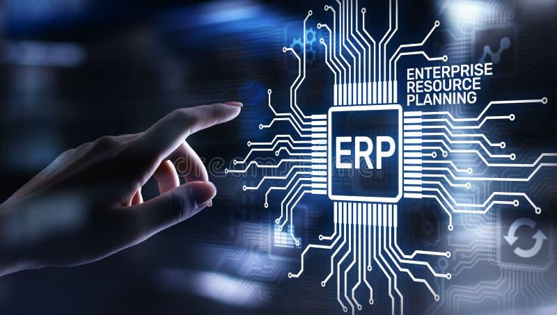 ERP - Дело планирования ресурса предприятия и современная концепция технологии на виртуальном экране бесплатная иллюстрация