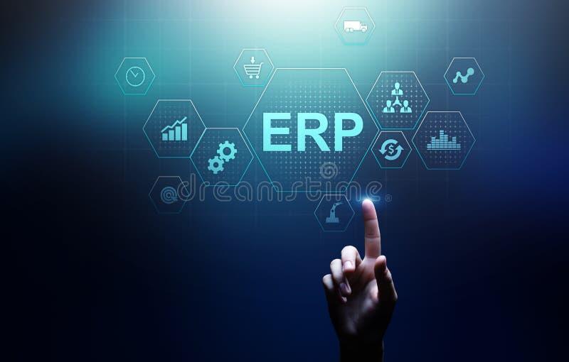 ERP -企业资源计划事务和现代技术概念在虚屏上 库存照片