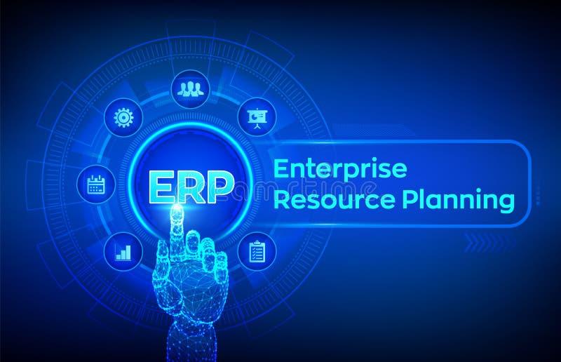 Erp 企业资源计划事务和现代技术概念在虚屏上 Corporate Company管理事务 皇族释放例证