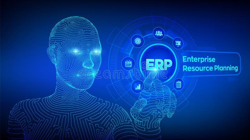 Erp 企业资源计划事务和现代技术概念在虚屏上 Corporate Company管理事务 向量例证