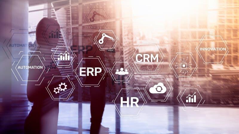 ERP, Biznesowy innowaci pojęcie na zamazanym tle zdjęcie royalty free