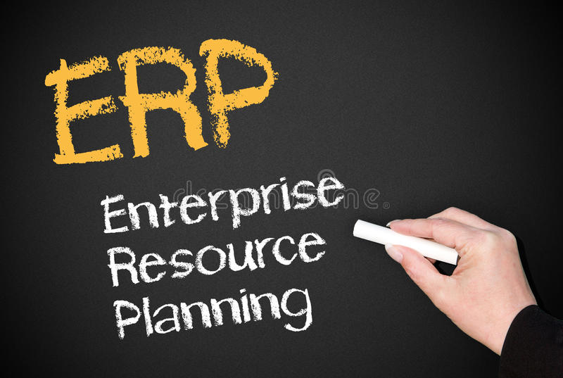 ERP on blackboard royalty free stock images