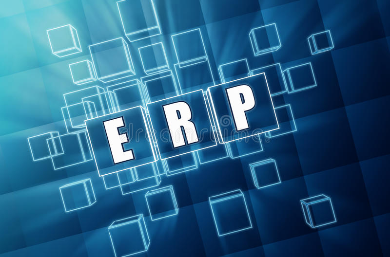 ERP in blue glass cubes - business concept royalty free stock image